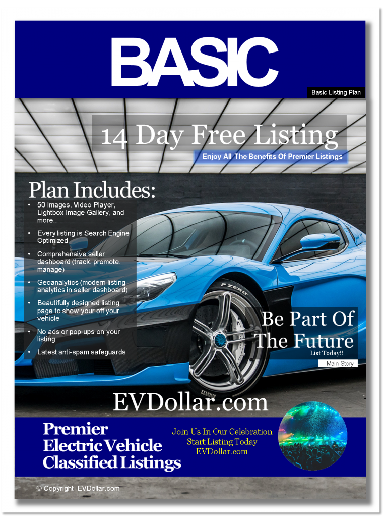 EV Classifieds - Electric Cars For Sale | Buy & Sell EV listing package basic
