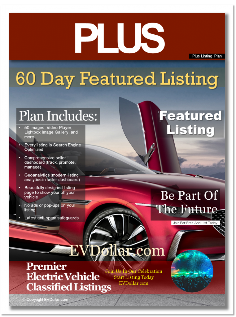 EV Classifieds - Electric Cars For Sale | Buy & Sell EV listing package plus